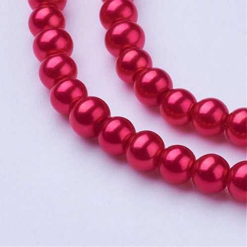 Glass Pearl Beads Crimson 4mm